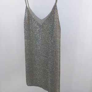 Sequin Ashish Dress, White Silver